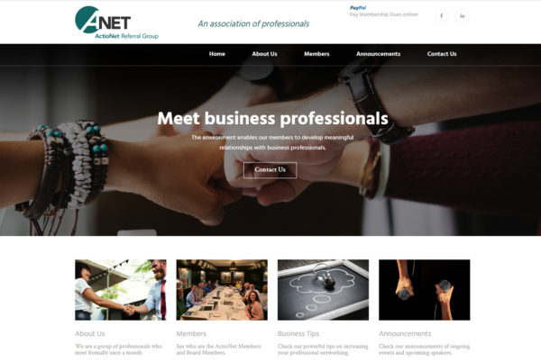 ActioNet website homepage print screen.