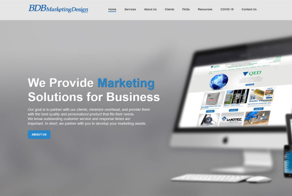 BDB Marketing Design website homepage print screen.