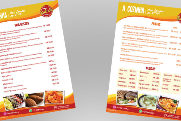 Restaurant food menu front and back.