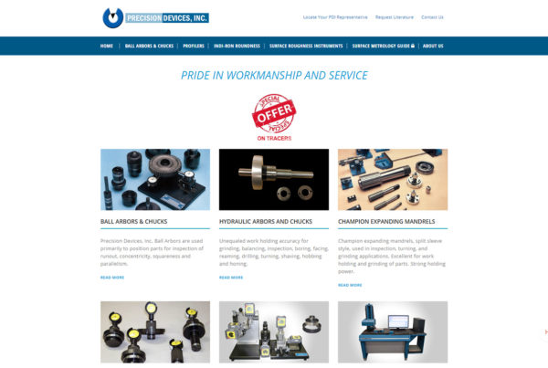 Precision Devices website homepage print screen.