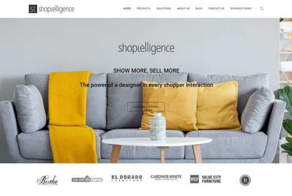Shoptelligence homepage hero print screen.